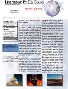 lightened by his glory newsletter
