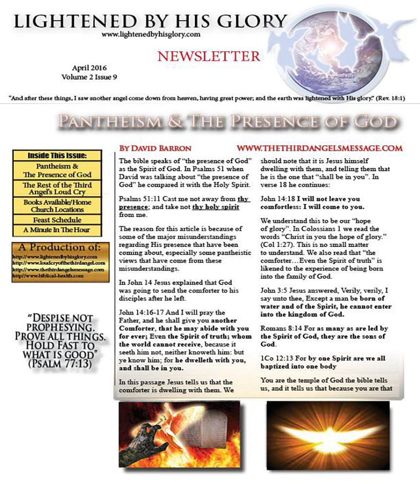 April 2016 Newsletter Release – Lightened by His Glory